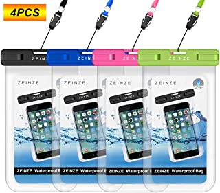 """ZEINZE Waterproof Case Universal Waterproof Phone Bag Pouch Drg Bag for iPhone 6 6S 7 Plus 5 5S 5C Galaxy S8 S7 S6 S5 S4 Note 5 4 3 Google Pixel HTC LG Sony Moto Devices Up to 6.5"""" 4 Pack"""