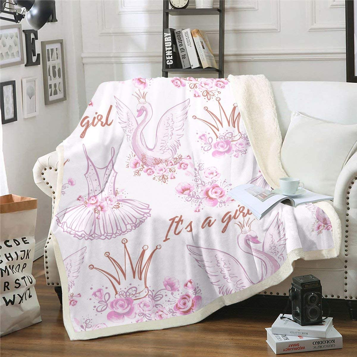Girls Fleece Throw Blanket Baby Courier Milwaukee Mall shipping free Girl B Ballerina Pink Swan Fuzzy