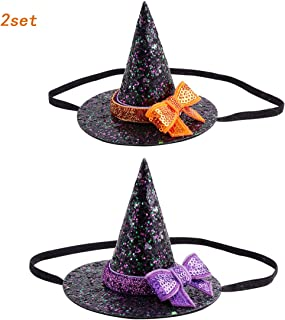 HLHXMWXY Halloween Witch Hat Hairband, Ghost Festival Cosplay Prom Party Headband Decoration , Witch Hat Bow Lace Hair Band for Kids -2 Pieces