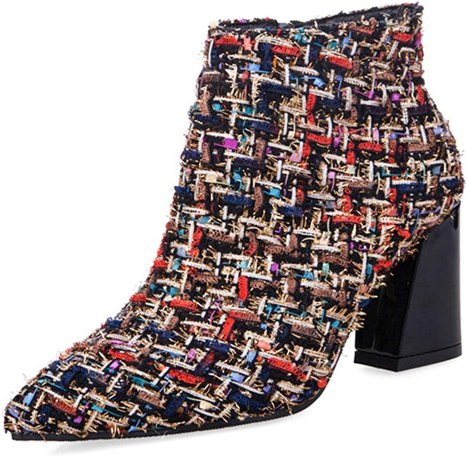 Women Ankle Boots Blends Plaid Zipper Pointed Toe High Chunky Heel Ladies Sexy Fashion Party Short shoes