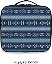 SCOCICI Fashion Personalized Travel Storage Bag Traditional Scandinavian Needlework Inspired Pattern Jacquard Flakes Knitting Theme Decorative for Daily Use, Ourdoor,Wedding etc(One Size)