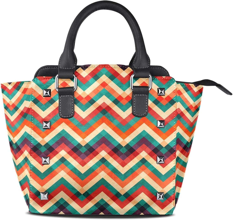 My Little Nest Women's Top Handle Satchel Handbag Retro colorful Zigzag Ladies PU Leather Shoulder Bag Crossbody Bag