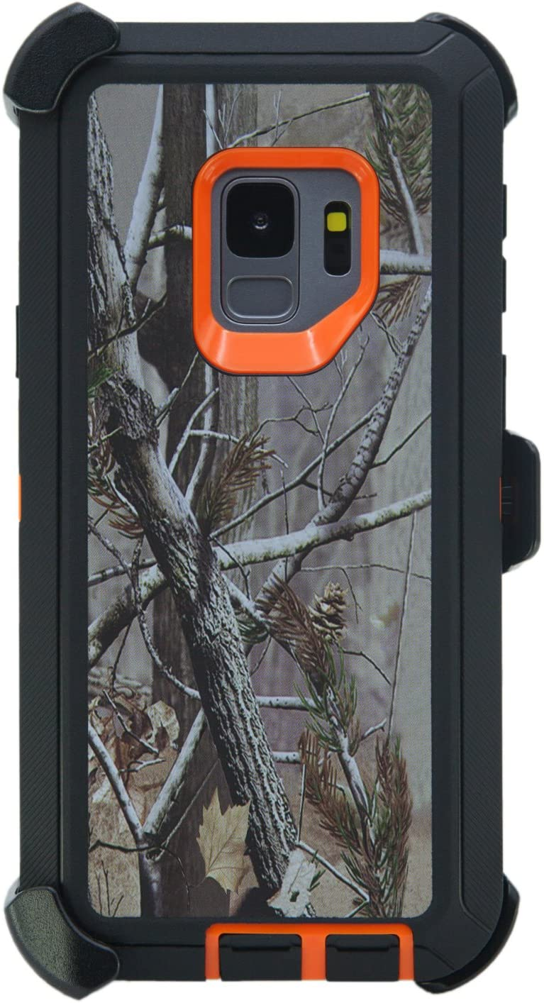 """WallSkiN Turtle Series Belt Clip Cases for Galaxy S9 (5.8""""), 3-Layer Full Body Life-Time Protective Cover & Holster & Kickstand & Shock, Drop, Dust Proof - Camouflage/Orange"""