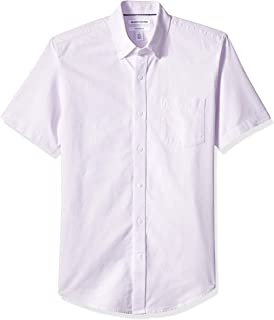 Amazon Essentials Men's Slim-Fit Short-Sleeve Solid Pocket Oxford Shirt