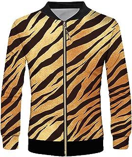 7cb563e42086 VHWSLWAS Leopard Print 3D Printed Medium and Long Section Casual Men s  Zipper Coat
