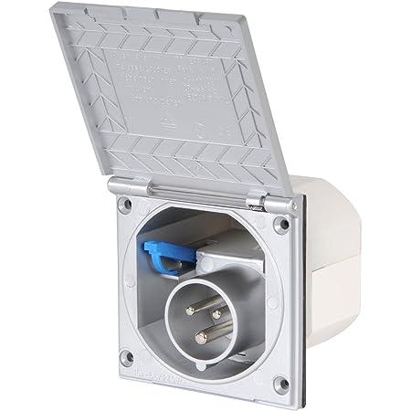 Wamovo Cee Aussensteckdose Silber Spritzwasser Geschützt Ip 44 200 250v 16a 3 Polig Für Wohnwagen Wohnmobil Oder Boot Auto
