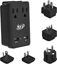 Key Power 2000W International Travel Adapter Kit, Quick Charge 3.0 USB & Two AC Outlets for US to Europe, Ireland, Russia, France, UK, Australia, New Zealand, Italy and More