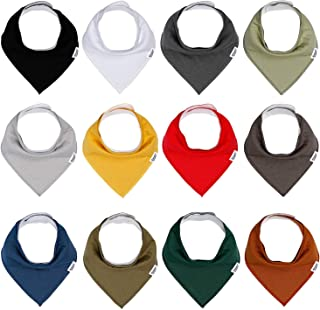 Baby Bandana Drool Bibs for Boys and Girls, Solid Colors, Unisex 12 Pack Baby Bibs Set for Teething and Drooling, Organic Cotton Bibs,Soft Absorbent