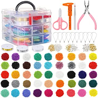 PP OPOUNT 27009 Pieces Glass Seed Beads Kit, Multiple Sizes Craft Seed Beads with Small Pony Beads, Beading Hoop Earring a...