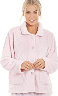 Camille Womens Supersoft Light Pink Button Front Diamond Print Bed Jacket