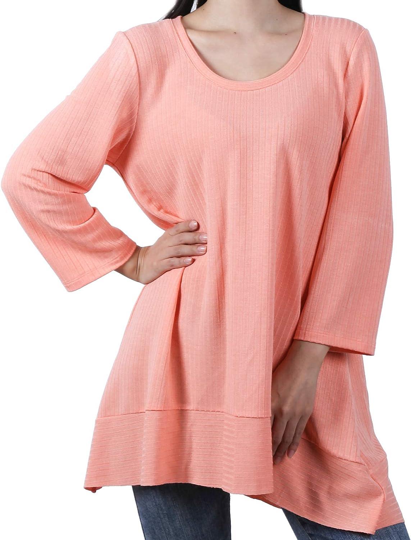BliMli Women's Crew Neck 3/4 Sleeve Long Shirt Casual Blouse Tunic Tops for Leggings Loose Pullover