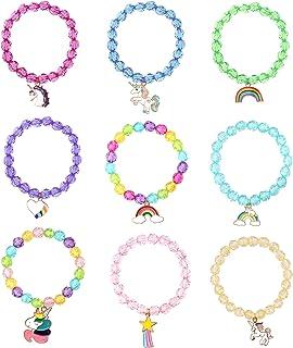 9 pcs Braccialetti Bambini CNNIK Braccialetti di Unicorno Colorati Principessa Gioielli Arcobaleno Cristallo Perle Sirena ...