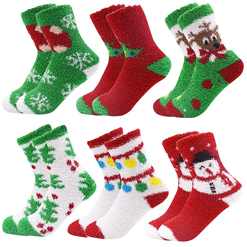 6 Pairs Adult Christmas Holiday Socks Warm Winter Cozy Socks