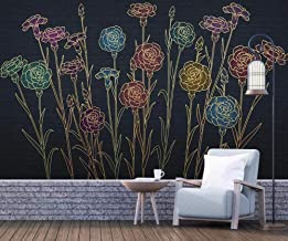 Wall Mural 3D Golden Embossed Light Luxury Line Drawing Flower Custom Wallpaper 3D Effect Large Mural Wall Murals Home Decor