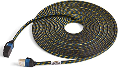 CAT7 Weave Shielded Ethernet Cable Flat Patch Cable FTP Patch Cord LSOH Engineering Grade Network Cable (10M, Black1)