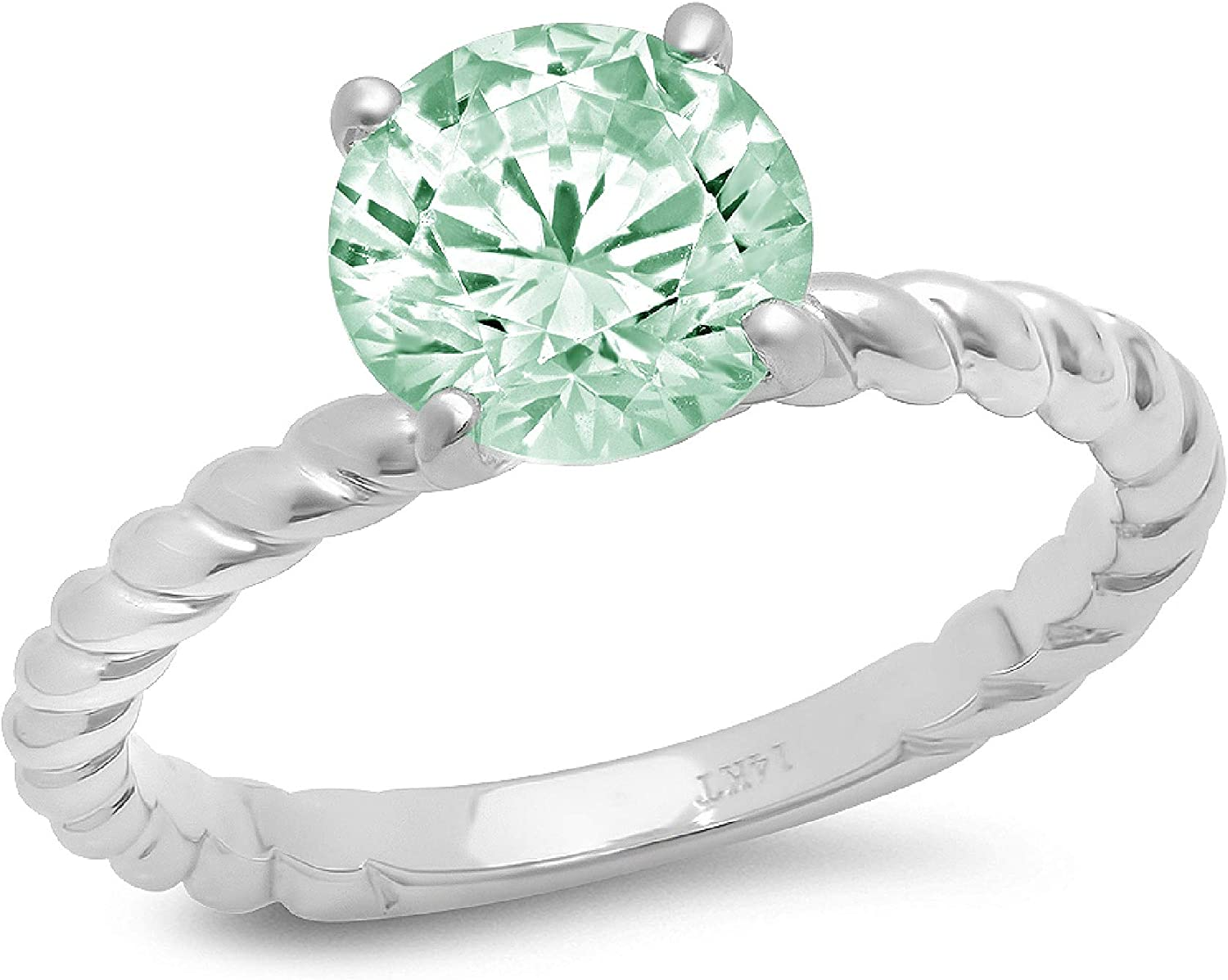 1.9ct Round Cut Solitaire Rope Twisted Knot Light Sea Green Simulated Diamond Cubic Zirconia Ideal VVS1 D 4-Prong Engagement Wedding Bridal Promise Anniversary Ring Solid 14k White Gold for Women