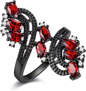 Women's Punk Black Wedding Rings Oval and Round Cut Red White Cubic Zirconia Rhinestones Open Tail Anniversary Jewelry (Size 6 7 8 9) J656