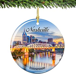 City-Souvenirs Nashville Christmas Ornament Porcelain Double Sided