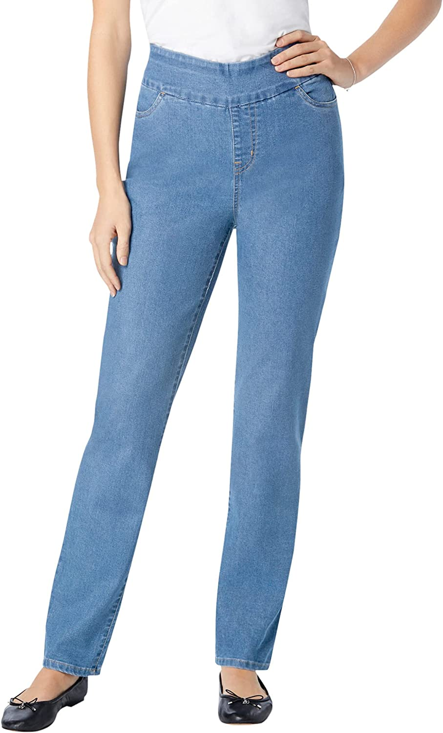 Woman Within Women's Plus Size Pull-On Straight Leg Denim Jeans
