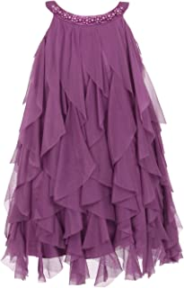 b005198aa6e Kid s Dream Little Girls Eggplant A-line Swirl Mesh Ruffle Flower Girl  Dress 2-