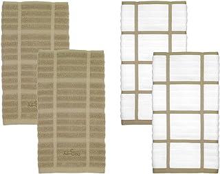 All-Clad textiles 100% algodón trapo de cocina de cuadros, Almendra, Paquete de 4, Capuccino, 4
