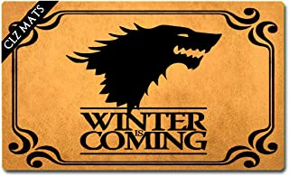 CLZ mats Welcome Mats Winter is Coming Game of Thrones Doormat Colorful Funny Welcome Mat for Entrance Way Anti-Slip Rubber Door Mat for Front Door Kitchen Rugs and Mats 18