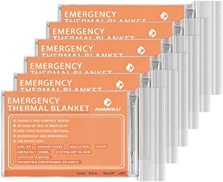 ANMEILU Emergency Mylar Thermal Blankets -Space Blanket Survival kit Camping Blanket (Pack of 6). Perfect for Outdoors, Hiking, Survival, Bug Out Bag ,Marathons or First Aid