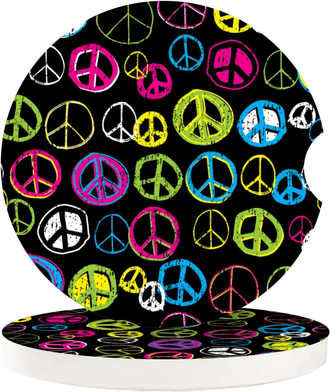 2 Pack 100% quality warranty! Car NEW before selling Coasters For Drinks Sign Fun Cute Rep Absorbent Peace