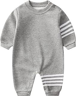 مولود جديد طفل صبي بنت رقبة مستديرة رياضات رومبير ملابس رضيع خريف كم طويل حللا وزرة (Color : Gray, Size : 66CM)