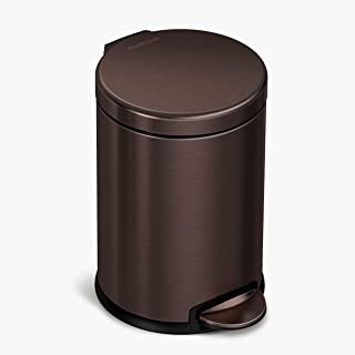 simplehuman 4.5 Liter / 1.2 Gallon Round Bathroom Step Trash Can, Dark Bronze Stainless Steel