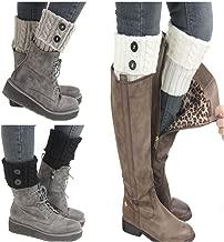 Santwo Women Winter Warm Crochet Knitted Boot Cuff Sock Short Leg Warmer 3 Pairs