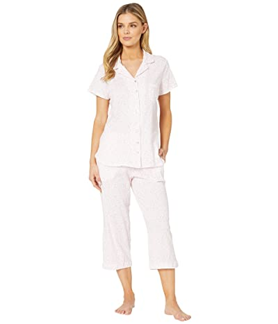 Eileen West Cotton Jersey Knit Short Sleeve Notch Collar Capris Pajama Set (White Ground/Pink Scroll) Women