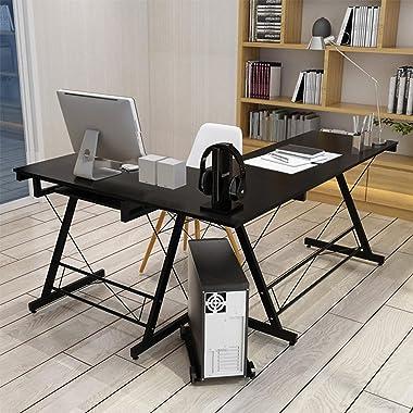 Floenr L-Shaped Corner Desk with Keyboard Tray   Home Office Desk   Laptop Computer Desk   Writing Table Wood Executive Desk