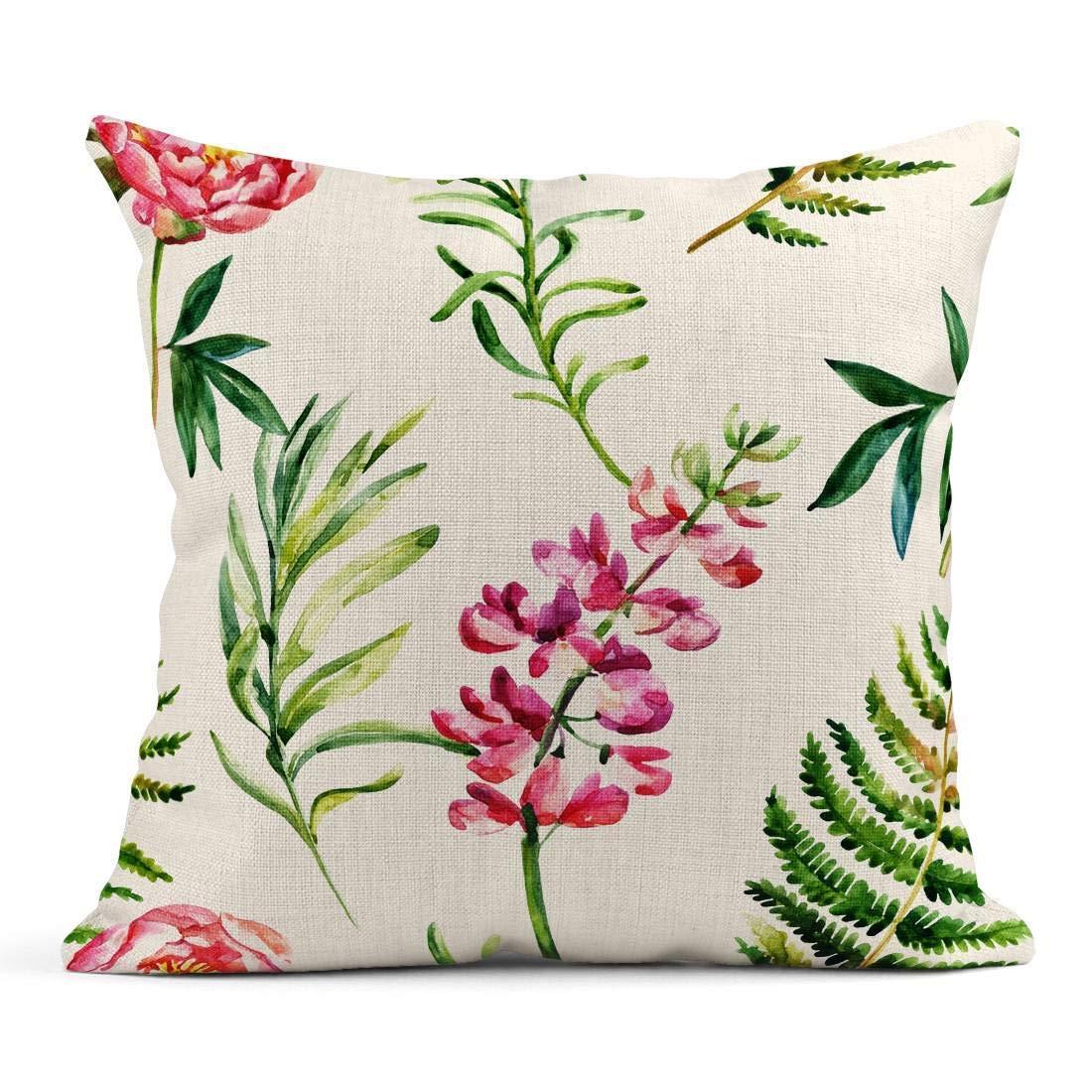 Kinhevao Cojín Rosa Agua Acuarela Jardín Flores Silvestre Prado en la Mano Patrón de Color Floral Cojín de Lino Almohada Decorativa para el hogar: Amazon.es: Jardín