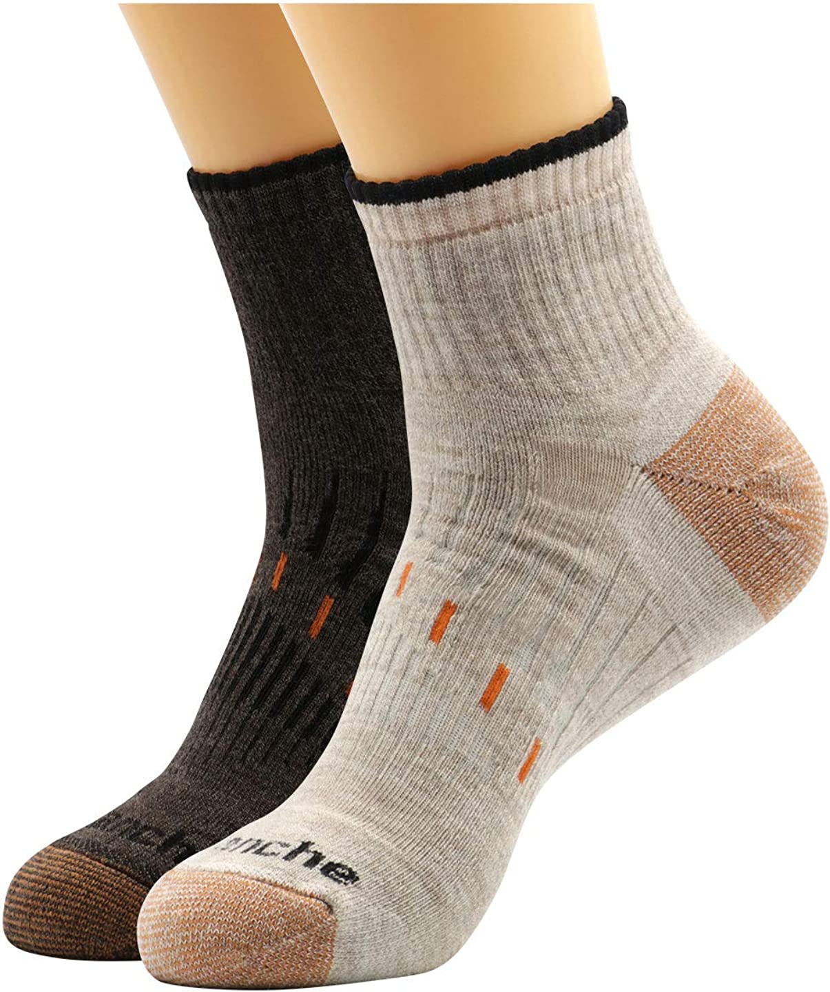 Avalanche Men's Odor Resistant Copper Wool Blend Quarter Socks With Arch Support 2Pack