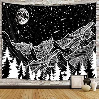 Black and White Mountain Tapestry for Men, Cool Moon and Star Forest Aesthetic Tapestry Wall Hanging for Bedroom, Trippy A...