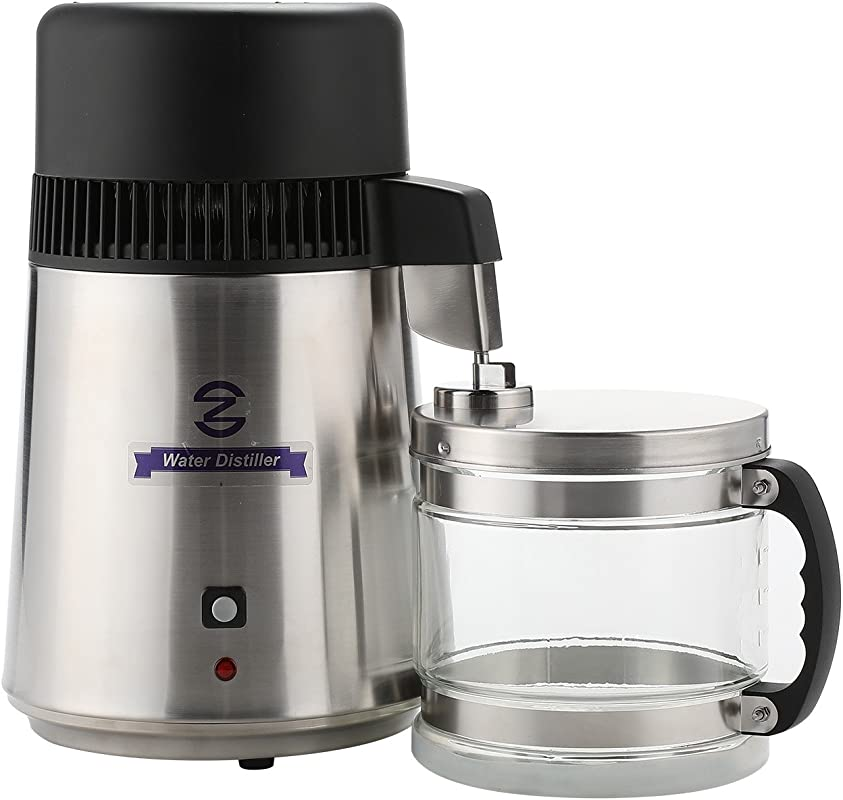 CO Z Brushed Stainless Steel Water Distiller FDA Approved Distilling Pure Water Machine For Countertop Table Desktop 4L Distilled Water Making Machine Water Purifier To Make Clean Water
