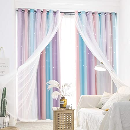 UNISTAR Blackout Stars Kids Curtains for Girls Bedroom Colorful Ombre Double Layer Star Cut Out Stripe Pink Rainbow Window Curtain,1 Panel,W52 x L63 Inches