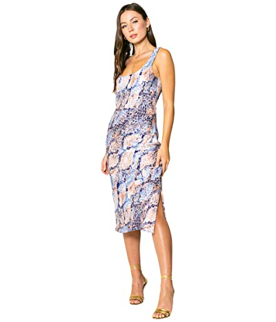 LAVENDER BROWN Blue Snake Printed Bias Midi Dress with Side Slit and Tie At the Back