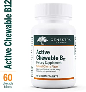 Genestra Brands - Active Chewable B12 - Chewable Vitamin B12 Tablets - Natural Cherry Flavor - 60 Chewable Tablets