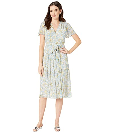 Donna Morgan Printed Chiffon Fit and Flare Dress (Blue Cadet/Mimose Yellow Multi) Women