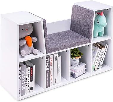 YOUDENOVA 6-Cubby Kids Bookcases Bedroom Storage Organizer, Decoration Multi-Purpose Organizer Cabinet Shelf, w/Cushioned Rea