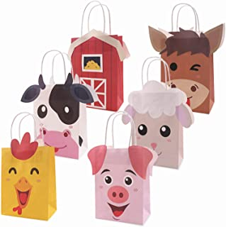 Faisichocalato Farm Animal Party Favor Bags Barnyard Birthday Gift Treat Goody Bags Kraft Paper Centerpiece Decorations for Kids Baby Shower Supplies Pack of 12