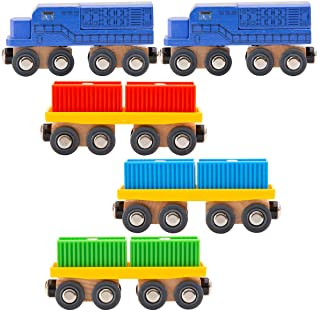ORBRIUM 11 Pcs Intermodal Freight Trains Set for Wooden Wood Railway Includes 2 Diesel Engines, 3 Container Flat Cars, 6 S...