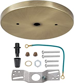 B&P Lamp 5 1/4 Inch Modern Shallow Steel Canopy Kit (Antique Brass) with Hardware - Includes Screws, Nuts, Crossbar