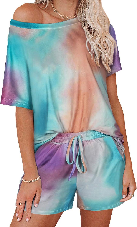 KIKIBERRY Women's Tie Dye Short Sleeve Pajamas Set with Short Pockets 2 Piece Outfits Sleepwear Lounge T-Shirt PJ Set