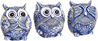 FAMICOZY Owl Figurine with Different Gestures,Cute Owl Statue,Adorable Decoration for Home Office Set of 3,Blue