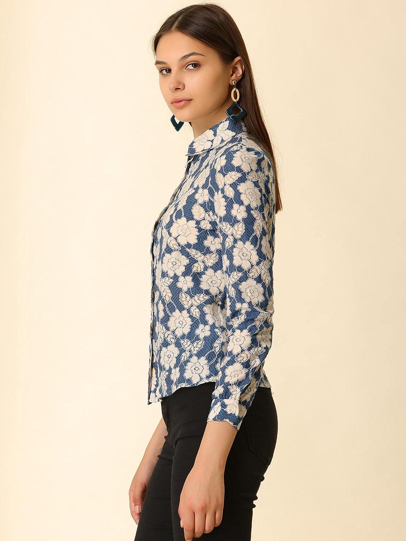 Allegra K Women's Lace Floral Blouse Crochet Elegant Point Collar Button Down Shirt
