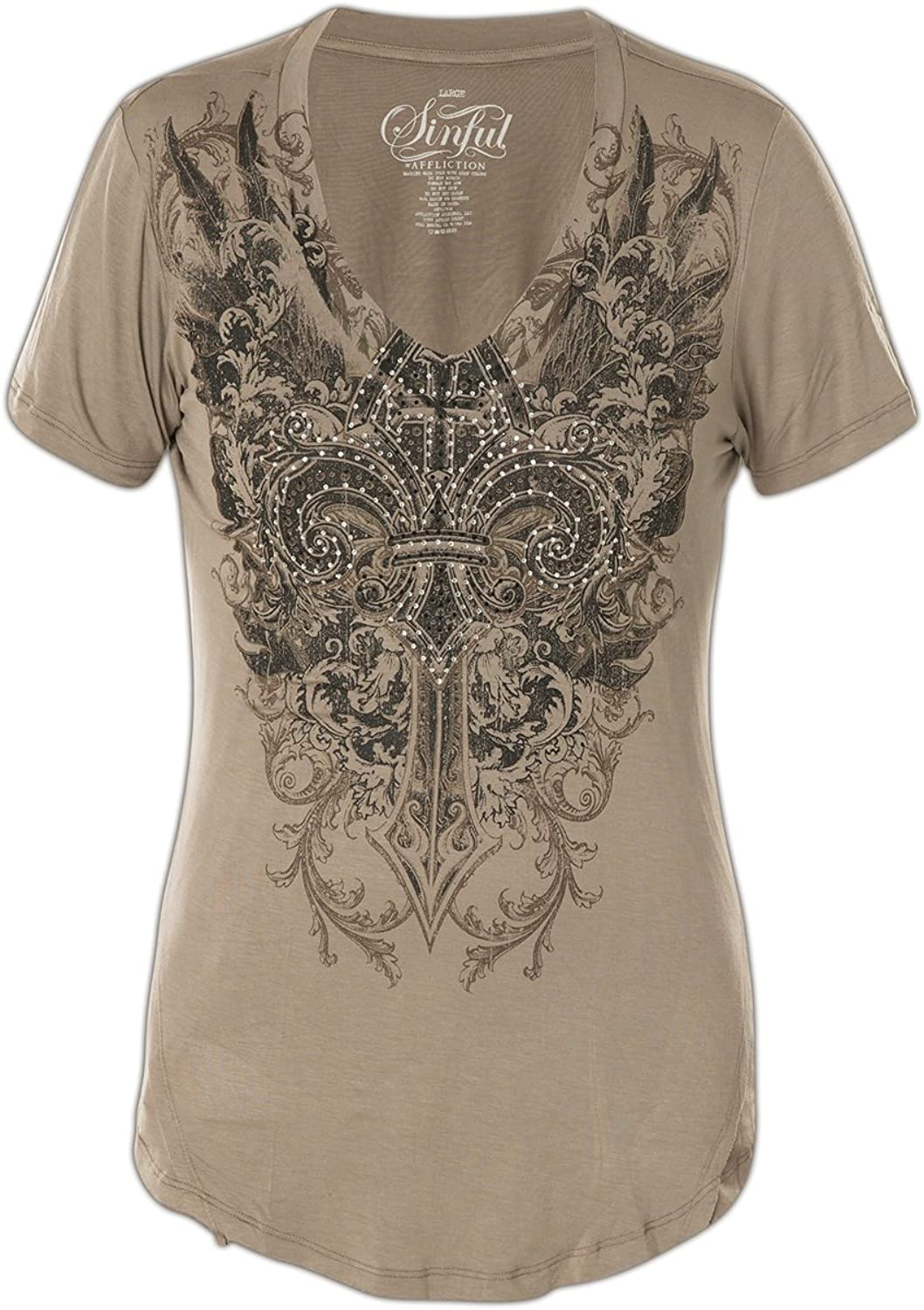 Sinful Caspian Manor Short Sleeve Graphic Fashion VNeck Tshirt Top By Affliction