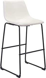 """Zuo Modern Smart Bar Chair, 19""""W x 38.6""""H x 21.3""""L Overall Dimensions, Faux Leather, Metal Base, White"""